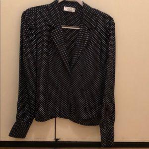 FRAME silk polka dot long sleeve blouse top